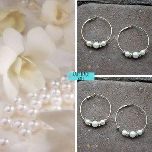 Pretty Hoop Pearl Earrings